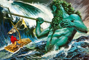Poseidon calling up the winds to destroy Odysseus